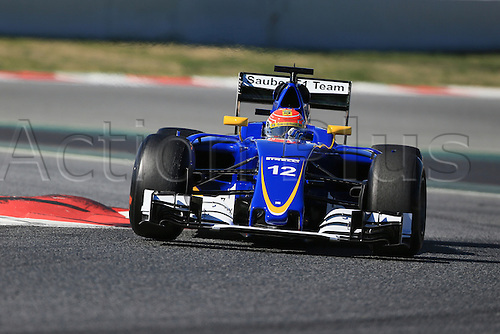 01.03.2016. Barcelona, Spain.  Formula 1 winter car testing at Circuit de Barcelona Catalunya Test 2 Day 1.  Sauber F1 Team C35 – Felipe Nasr.