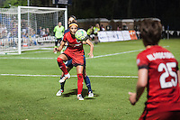 Kansas City, Mo. - Saturday April 23, 2016: Portland Thorns FC forward Nadia Nadim (9) attempts to control the ball during a match against FC Kansas City at Swope Soccer Village. The match ended in a 1-1 draw.