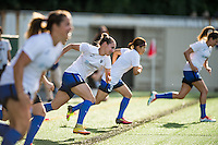 Seattle, WA - Saturday, July 02, 2016: Seattle Reign FC forward Manon Melis (14) prior to a regular season National Women's Soccer League (NWSL) match between the Seattle Reign FC and the Boston Breakers  at Memorial Stadium.