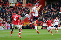Rudy Gestede of Middlesbrough flicks the ball on during Charlton Athletic vs Middlesbrough, Sky Bet EFL Championship Football at The Valley on 7th March 2020