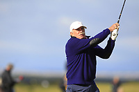 Dermot Desmond (AM) playing with Rafa Cabrera Bello (ESP) on the 16th during Round 3 of the Alfred Dunhill Links Championship 2019 at St. Andrews Golf CLub, Fife, Scotland. 28/09/2019.<br /> Picture Thos Caffrey / Golffile.ie<br /> <br /> All photo usage must carry mandatory copyright credit (© Golffile | Thos Caffrey)