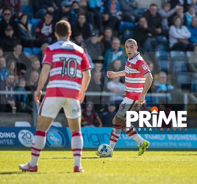 Luke McCullough of Doncaster Rovers during the Sky Bet League 2 match between Wycombe Wanderers and Doncaster Rovers at Adams Park, High Wycombe, England on 22 April 2017. Photo by Conor Molloy.