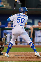 Daniel Robinson (50) of the Ogden Raptors bats during a game against the Grand Junction Rockies at Lindquist Field on September 7, 2018 in Ogden, Utah. The Rockies defeated the Raptors 8-5. (Stephen Smith/Four Seam Images)
