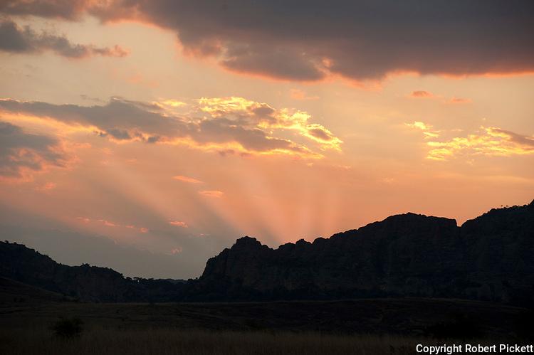 Sunset over Forest Landscape, Isalo National Park, Madagascar,