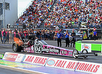 Oct 17, 2015; Ennis, TX, USA; NHRA top fuel driver Dave Connolly during qualifying for the Fall Nationals at the Texas Motorplex. Mandatory Credit: Mark J. Rebilas-USA TODAY Sports