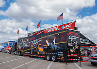Oct 15, 2016; Ennis, TX, USA; The Toyota Pit Pass hauler in the NHRA pits during qualifying for the Fall Nationals at Texas Motorplex. Mandatory Credit: Mark J. Rebilas-USA TODAY Sports
