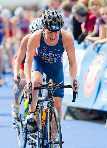 17 JUL 2011 - HAMBURG, GER - Jodie Stimpson (GBR) cycles through the spectator lined streets of Hamburg during the women's  round of triathlon's ITU World Championship Series .(PHOTO (C) NIGEL FARROW)