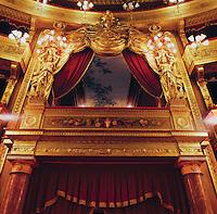 Palermo, Massimo theatre, the royal box, 19th century.<br /> Palermo, teatro Massimo, palco reale.