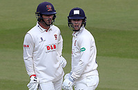 Ryan ten Doeschate (left) and Robbie White of Essex chat between overs during Surrey CCC vs Essex CCC, Specsavers County Championship Division 1 Cricket at the Kia Oval on 13th April 2019