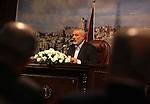 Palestinian prime minister in Gaza strip, Ismail Haniyeh, speaks during a press conference in Gaza city, on Oct. 19, 2013. Ismail Haniyeh, delivered an important speech to Gaza citizens saying that the prisoner exchange deal that took place in 2011 between Israel and Hamas was under Egyptian auspices. Photo by Ashraf Amra