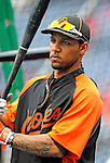 19 June 2011: Baltimore Orioles' infielder Robert Andino awaits his turn in the batting cage prior to a game against the Washington Nationals at Nationals Park in Washington, District of Columbia. The Orioles defeated the Nationals 7-4 in inter-league play, ending Washington's 8-game winning streak. Mandatory Credit: Ed Wolfstein Photo