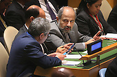 Members of the Iranian delegation listen as United States President Barack Obama addresses the 70th annual United Nations General Assembly at the UN headquarters September 28, 2015 in New York City. Obama will hold bilateral meetings with Indian Prime Minister Narendra Modi and Russian President Vladimir Putin later in the day. <br /> Credit: Chip Somodevilla / Pool via CNP
