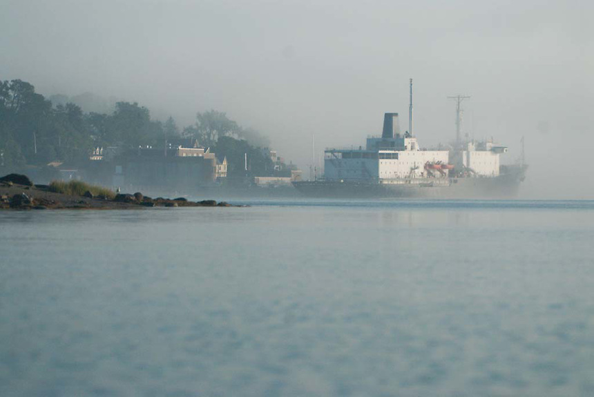 T/V State of Maine at Castine Harbor in Fog, Castine, Maine, US