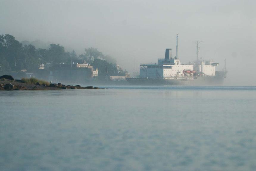 T/V State of Maine at Castine Harbor in Fog, Castine, Maine, US