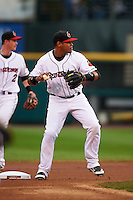 Rochester Red Wings shortstop Argenis Diaz (13) turns a double play during a game against the Lehigh Valley IronPigs on May 15, 2015 at Frontier Field in Rochester, New York.  Rochester defeated Lehigh Valley 5-4.  (Mike Janes/Four Seam Images)
