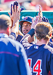 4 March 2013: Minnesota Twins outfielder Aaron Hicks returns to the dugout after hitting a two-run homer during a Spring Training game against the St. Louis Cardinals at Roger Dean Stadium in Jupiter, Florida. The Twins shut out the Cardinals 7-0 in Grapefruit League play. Mandatory Credit: Ed Wolfstein Photo *** RAW (NEF) Image File Available ***