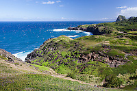 View of coastline along the rugged north shore of west Maui