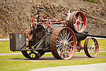 1914 Garr-Scott 16 hp steam tractor on display with threshing machine, Hepner, Ore.