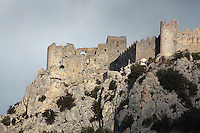 Puilaurens Castle or Chateau de Puilaurens, a ruined 12th century Cathar castle, in Lapradelle-Puilaurens, Boulzane Valley, Aude, France. Also called Puylaurens, or lo Castel de Pueg-Laurenc in Occitan, the castle belonged to the Abbey of Saint-Michel de Cuxa before being acquired by the Queen of Aragon in 1162. It changed hands many times during the Albigensian Crusade. It is one of the Five Sons of Carcassonne or Cinq fils de Carcassonne and is listed as a historic monument. Picture by Manuel Cohen