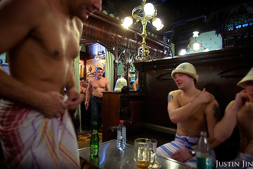 Men enjoy the Russian banya (sauna) in Moscow's famed Sandunovskaya bathhouse.