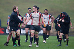 James Maher shakes hands with Steelers captain Kristian Ormsby after the Air New Zealand Cup pre-season rugby game between the Counties Manukau Steelers & Northland, played at Growers Stadium on July 21st, 2007. Counties Manukau won 28 - 17.