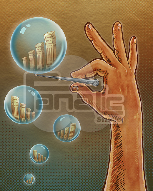Illustrative image of hand bursting bubble representing inflation