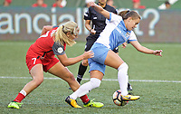 """Portland, OR - Saturday August 19, 2017: Andressa Cavalari Machry """"Andressinha"""", Lindsey Horan during a regular season National Women's Soccer League (NWSL) match between the Portland Thorns FC and the Houston Dash at Providence Park."""