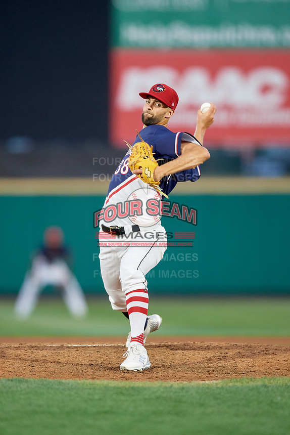 Rochester Red Wings relief pitcher Nick Anderson (38) delivers a pitch during a game against the Pawtucket Red Sox on July 4, 2018 at Frontier Field in Rochester, New York.  Pawtucket defeated Rochester 6-5.  (Mike Janes/Four Seam Images)