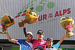 April 21st 2017, Trento, Italy; UCI Tour of the Alps mens cycling tour, stage 5 from Smarano to Trento. GBR's Geraint Thomas (Team Sky) wins the Tour and French Thibaut Pinot (FDJ) (left) who ended first at this last stage ended second at the overall, Italy's Domenico Pozzovivo (AG2R La Mondiale) is third (right).