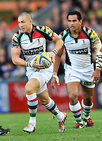 Leicester, England. Mike Brown of Harlequins in action during the Aviva Premiership match between Leicester Tigers and Harlequins at Welford Road on September 22, 2012 in Leicester, England.