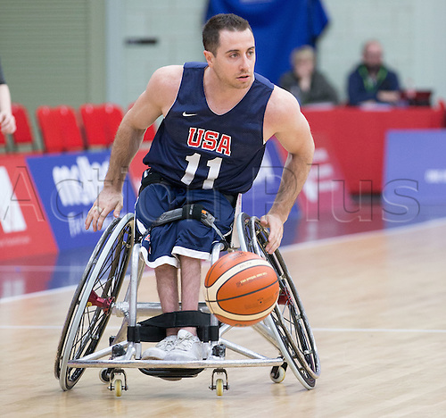 03.07.2016. Leicester Sports Arena, Leicester, England. Continental Clash Wheelchair Basketball, USA versus Japan.  Steve Serio (USA) in action