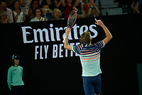 29th January 2020; Melbourne Park, Melbourne, Victoria, Australia; Australian Open Tennis, Day 10; Alexander Zverev of Germany wins an important point during his mens singles semi-final match against Dominic Thiem of Austria