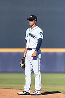 Peoria Javelinas first baseman Evan White (15), of the Seattle Mariners organization, during an Arizona Fall League game against the Scottsdale Scorpions at Peoria Sports Complex on October 18, 2018 in Peoria, Arizona. Scottsdale defeated Peoria 8-0. (Zachary Lucy/Four Seam Images)