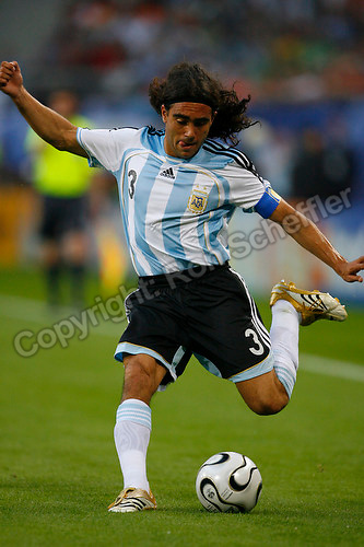 Jun 10, 2006; Hamburg, GERMANY; Argentina defender (3) Juan Sorin plays in the Argentina vs. Ivory Coast match in 1st round group C action of the 2006 FIFA World Cup at FIFA World Cup Stadium Hamburg. Argentina defeated the Ivory Coast 2-1. Mandatory Credit: Ron Scheffler-US PRESSWIRE Copyright © Ron Scheffler