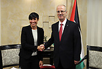 Palestinian Prime Minister Rami Hamdallah, meets with Norway's Foreign Minister, Anne-Marie Eriksen, in the West Bank city of Ramallah on August 6, 2018. Photo by Prime Minister Office