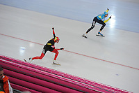 SCHAATSEN: HAMAR: Vikingskipet, 16-02-2013, Essent ISU WK allround, Season 2012-2013, Day 1, 500m Men, Bart Swings (BEL), Dmitry Babenko (KAZ), ©foto Martin de Jong