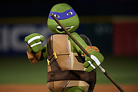 Teenage Mutant Ninja Turtle Donatello during an on field performance after a Buffalo Bisons game against the Gwinnett Braves on August 19, 2017 at Coca-Cola Field in Buffalo, New York.  The Bisons wore special Superhero jerseys for Superhero Night.  Gwinnett defeated Buffalo 1-0.  (Mike Janes/Four Seam Images)
