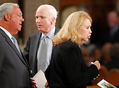 Boston, MA - August 29, 2009 -- Boston Mayor Thomas Menino (L), U.S. Senator John McCain (R-AZ) and Joan Kennedy (R), ex-wife of U.S. Senator Edward Kennedy, wait for services to start. during funeral services for U.S. Senator Edward Kennedy at the Basilica of Our Lady of  Perpetual Help in Boston, Massachusetts August 29, 2009.  Senator Kennedy died late Tuesday after a battle with cancer.   .Credit: Brian Snyder- Pool via CNP