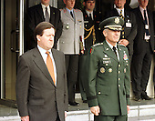 North Atlantic Treaty Organization (NATO) Secretary General The Right Honorable Lord Robertson, left, of Port Ellen, PC  visits Supreme Headquarters Allied Powers Europe (SHAPE) at Casteau, Mons, Belgium on October 15, 1999. United States Army General Wesley Clark, Supreme Allied Commander (SACEUR), right, accompanies Lord Robertson..Credit: NATO via CNP