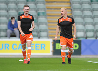 Blackpool's Oliver Turton (left) and Mark Cullen during the pre-match warm-up <br /> <br /> Photographer Kevin Barnes/CameraSport<br /> <br /> The EFL Sky Bet League One - Plymouth Argyle v Blackpool - Saturday 15th September 2018 - Home Park - Plymouth<br /> <br /> World Copyright &copy; 2018 CameraSport. All rights reserved. 43 Linden Ave. Countesthorpe. Leicester. England. LE8 5PG - Tel: +44 (0) 116 277 4147 - admin@camerasport.com - www.camerasport.com