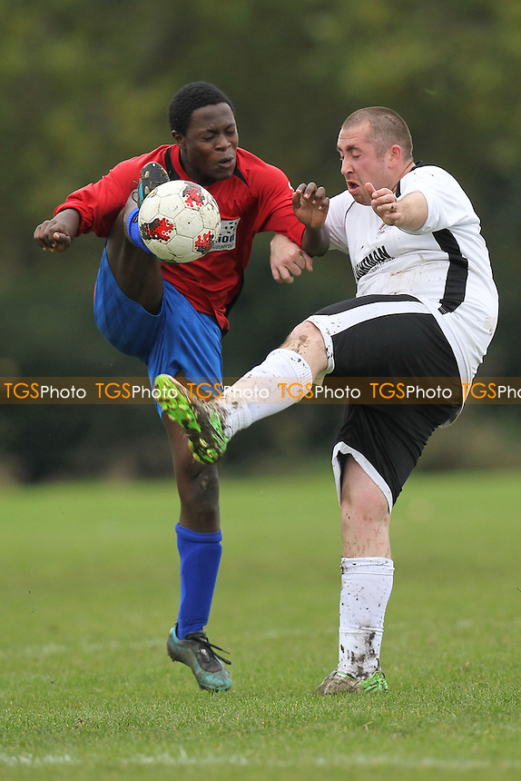 Stratford Juniors (red/blue) vs Castrillon - East London Sunday League Football at South Marsh, Hackney Marshes, London - 21/10/12 - MANDATORY CREDIT: Gavin Ellis/TGSPHOTO - Self billing applies where appropriate - 0845 094 6026 - contact@tgsphoto.co.uk - NO UNPAID USE.