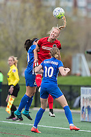 Allston, MA - Sunday, May 1, 2016:  Boston Breakers defender Mollie Pathman (20), Portland Thorns FC midfielder Dagny Brynjarsdottir (11) and Boston Breakers midfielder Louise Schillgard (10) in a match at Harvard University.