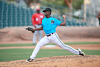 Miami Marlins pitcher Sandro Bargallo (54) during an Instructional League game against the Washington Nationals on September 25, 2019 at Roger Dean Chevrolet Stadium in Jupiter, Florida.  (Mike Janes/Four Seam Images)