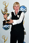 Ellen Degeneres poses with her award for Outstanding Talk Show Host at the 35th Annual Daytime Emmy Awards held at the Kodak Theatre in Los Angeles on June 20, 2008.