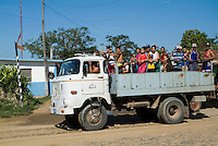 Truck used to transport passengers driving on the road, Manaca-Iznaga, Cuba.