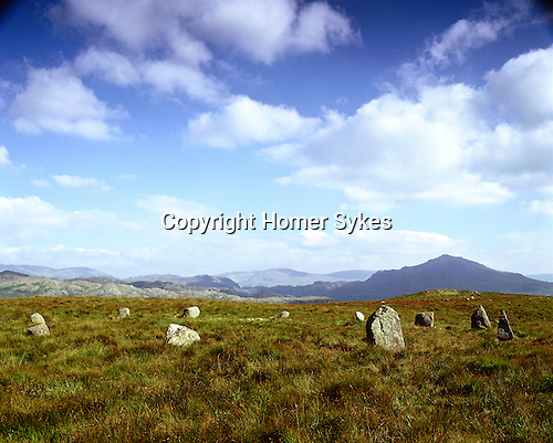 Brats Hill Stone Circle, Nr Boot, Burn Moor, Cumbria, England. Celtic Britain published by Orion. Unlike most stone circles which are positions on low lying land, this is a two mile hike up Gill Bank from the hamlet of Boot in Eskdale.