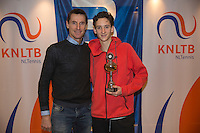 Hilversum, Netherlands, December 4, 2016, Winter Youth Circuit Masters, 3 th place boys 16 years Max van Nunen with Fedcup captain Paul Haarhuis. <br /> Photo: Tennisimages/Henk Koster