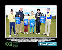 Monkstown GC team with Bank of Ireland Official Morgan Whelan and CGI Participation Officer Jennifer Hickey with Junior golfers across Munster practicing their skills at the regional finals of the Dubai Duty Free Irish Open Skills Challenge at the Ballykisteen Golf Club, Limerick Junction, Co. Tipperary. 16/04/2016.<br /> Picture: Golffile | Thos Caffrey<br /> <br /> <br /> <br /> <br /> <br /> All photo usage must carry mandatory copyright credit (© Golffile | Thos Caffrey)
