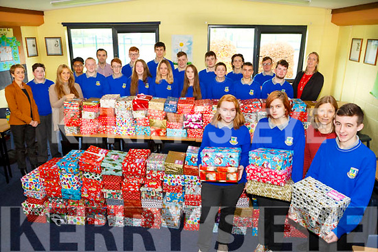 Castleisland Community College have collected their biggest amount for the annual Shoe box appeal this year. Pictured Ruth Borgeat, Lucy Setterfield, Liam Maloney and Doreen Killington, teacher TY Co-ordinator with TY Students and staff