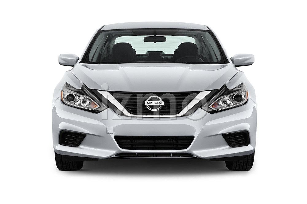 Car photography straight front view of a 2017 Nissan Altima S 4 Door Sedan Front View